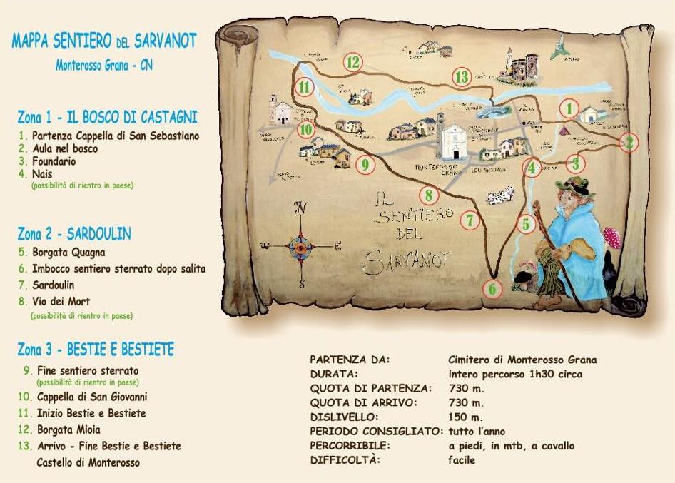 mappa sentiero del sarvanot monterosso grana